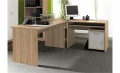 Büroset Compact Büoprgramm Büro Schreibtisch Regal in Sonoma Eiche und weiß
