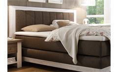 Boxspring Bett Nevada Pinie weiß Bezug stone TTFK Matratze 180x200 cm