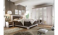 Schlafzimmer Set LUCA mit Boxspringbett NEVADA Pinie weiß Trüffel