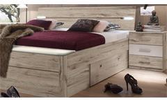 Bettanlage Mars XL Bett Nachtkommode Sandeiche weiß inkl. LED und Bettkasten