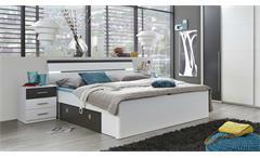 Bettanlage Mars Schlafzimmerset Bett Nachtkommode weiß und lava mit LED 180x200