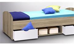 Bett Nemo Kinderbett Liege Kinderzimmerbett in Sonoma Eiche weiß 90x200 cm