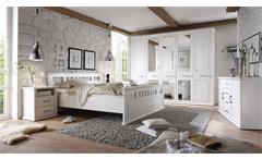Schlafzimmer Emma Set Schrank Bett Nako in Kiefer teilmassiv weiß