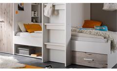 Hochbett Maxi Kinderbett Etagenbett Kinderzimmerbett Bett weiß Sandeiche 90x200
