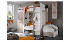 Hochbett Maxi Kinder Etagenbett in weiß und Sandeiche 90x200
