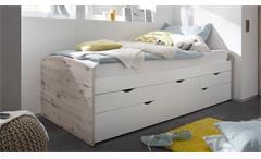 Kojenbett Nessi Bett Kinderbett Hochbett weiß Sandeiche 2 Liegeflächen 90x200