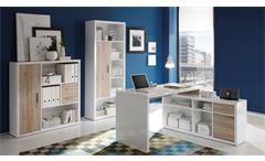 Büro Set Tokyo 4-teilig in San Remo Eiche und glänzend Weiß