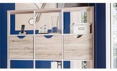 Raumteiler 1 Quadro Bücherregal in Sandeiche und weiß 12 Fächer inkl. 3 Körbe