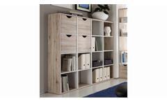 Raumteiler 2 Quadro Bücherregal in Sandeiche und weiß 16 Fächer inkl. 4 Körbe