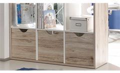 Raumteiler 3 Quadro Bücherregal in Sandeiche und weiß 15 Fächer inkl. 3 Körbe