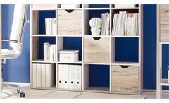Raumteiler 4 Quadro Bücherregal in Sandeiche und weiß 20 Fächer inkl. 4 Körbe