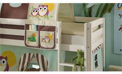 Hochbett mit Rutsche Snoopy Kinderzimmer Bett 90x200 Kiefer massiv weiß Leiter