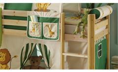 Hochbett mit Rutsche Snoopy Kinderzimmer Bett 90x200 Kiefer massiv natur Leiter