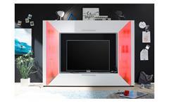 Wohnwand Mediawand Edge weiß Fernsehwand mit Ambiente Beleuchtung