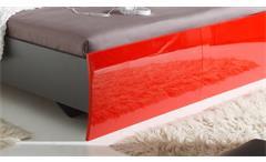 Bettanlage Rosso Schlafzimmer Lava rot Hochglanz Bett 180x200 mit Nachtkonsolen
