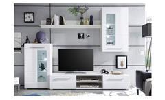 Wohnwand Enrique 1 Wohnzimmer Anbauwand Front weiß hochglanz mit LEDWohnwand Enrique 1 Wohnzimmer An