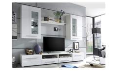 Wohnwand Enrique 2 Wohnzimmer Anbauwand weiß hochglanz 2 Hängevitrinen mit LED