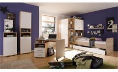 Jugendzimmer CORNER 8-teilig Sonoma Eiche weiß Eckkleiderschrank