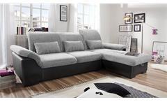 Ecksofa Brandons Sofa Wohnlandschaft in schwarz grau Schlaffunktion Bettkasten