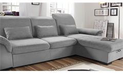 Ecksofa Brandons Sofa Wohnlandschaft grau hellgrau mit Schlaffunktion Bettkasten