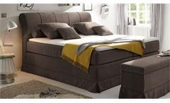 Boxspringbett Carson 1 Bett Schlafzimmerbett in braun mit Topper 180x200