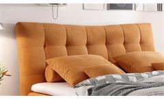 Boxspringbett Malibus Bett in Stoff orange 7-Zonen-TTK inkl. Topper 180x200 cm