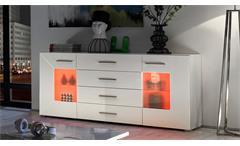 Sideboard Axit Anrichte Kommode in MDF weiß Hochglanz inkl. RGB-Beleuchtung