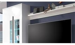 Wohnwand Long Anbauwand Wohnkombi in weiß Hochglanz inkl. LED-Beleuchtung