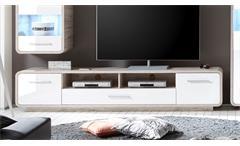 Lowboard T1 Roof TV-Board Unterteil HiFi in Sandeiche und MDF weiß Hochglanz