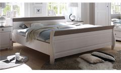 Bett Oslo t in Kiefer massiv weiß und Lava Schlafzimmerbett Doppelbett 180x200 cm