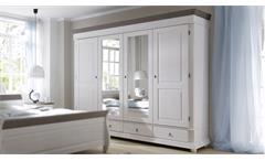 Kleiderschrank Oslo Schlafzimmerschrank Kiefer massiv weiß und Lava Schrank