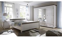 Schlafzimmer Set Oslo Kiefer massiv weiß und Lava Nachttische Doppelbett Schrank