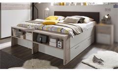 Bett Jules Doppelbett 180x200 cm Sandeiche und weiß Polsterkopfteil