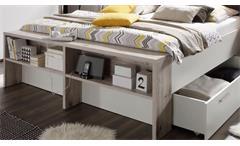 Bettanlage Jules in Sandeiche und weiß Nachttische Doppelbett 180x200 cm