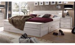 Bettanlage MARS XL Bett Weißeiche mit  LED und Bettkasten