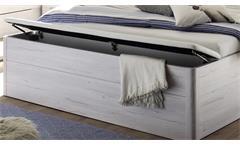 Bettanlage Mars XL Weißeiche weiß inkl. LED und Bettkasten Bett Nachtkommode