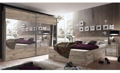 Schlafzimmer Set Penta 5 Mars XL in Sandeiche weiß Bett 180x200 Nakos Schrank