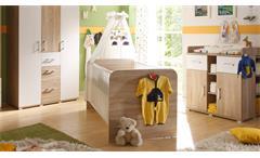Babybett Corner Kinderbett Kinderzimmerbett in Sonoma Eiche und weiß 70x140