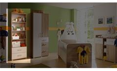 Regal Corner Schrank Regalschrank in Sonoma Eiche und weiß für Babyzimmer