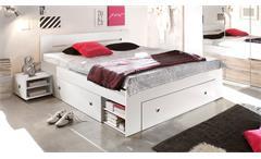 Bettanlage Stefan Bett mit 2 Nachttischen in weiß mit 3 Schubkästen 140x200