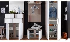 Garderoben Set Questa 5-teilig weiß Glanz cappuccino Dielenmöbel mit Spiegel