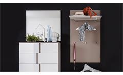 Garderoben Set Questa 4-teilig weiß Glanz cappuccino Dielenmöbel mit Spiegel