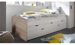 Kojenbett Nessi Bett Kinderbett Hochbett weiß Eiche Sonoma 2 Liegeflächen 90x200