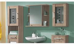 Badezimmer Set Pontos 5-teilig Bad Schrank Badmöbel Regale in Sonoma und weiß