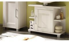 Badezimmer Set Pontos 5-teilig Bad Schrank Badmöbel Regale in Sibiu Lärche weiß