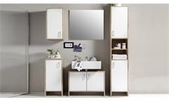 Badezimmer Set Oslo 5-teilig Bad Schrank Badmöbel Regale in Sonoma und weiß