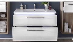 Waschbeckenschrank Miami inkl. Becken LED Eiche Hochglanz weiß Badezimmer