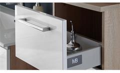 Kommode Badschrank Badezimmer Schrank Miami Eiche Sonoma und weiß Hochglanz