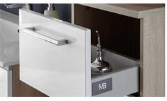 Badezimmer Set Miami 5-tlg Sonoma Eiche Hochglanz weiß Badmöbel mit Becken LED