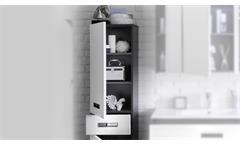 Hochschrank Manhattan Badezimmer Bad Hängeschrank grau Hochglanz weiß 2-türig
